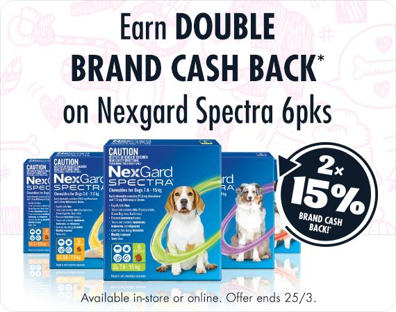 Earn Double Brand Cash Back* on Nexgard Spectra 6pks