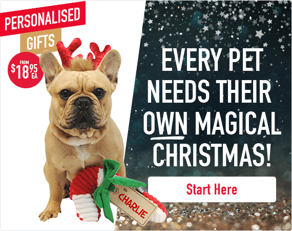 Every pet needs their own magical Christmas! Personalised gifts from $18.95!