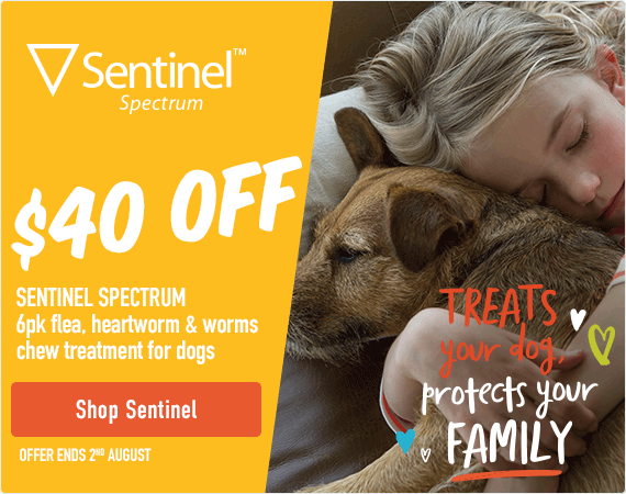 $40 Off - Sentinel Spectrum 6pk flea, heartworm & worms chew treatment for dogs. Offer ends 2nd August. Click here to shop Sentinel products.