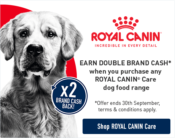 Earn Double Brand Cash* when you purchase any Royal Canin Care dog food range. *Offer ends 30th September, terms & conditions apply. Click here to shop Royal Canin Care range.