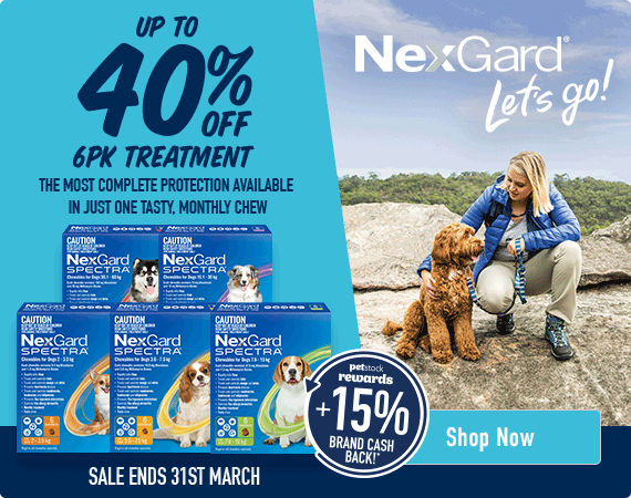 Nexgard - let's go! Up to 40% Off Nexgard Spectra 6pk treatment. The most complete protection available in just one tasty, monthly chew. On sale 1st-31st March. Click here to shop now!