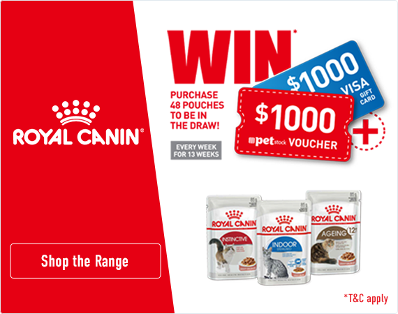 Royal Canin. Purchase 48 pouches to be in the draw to win $1000 PETstock vouchers.