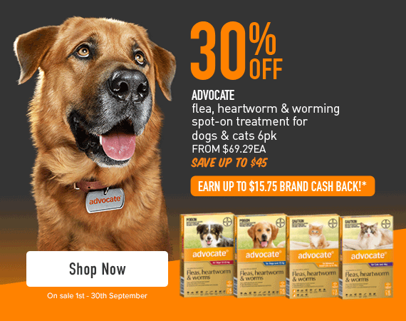 30% Off - Advocate flea, heartworm & worming spot-on treatment for dogs & cats 6pk. From $69.29 each. Save up to $45. EARN UP TO $15.75 BRAND CASH BACK!* IN BRAND CASH*