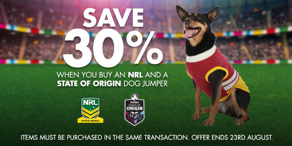 Official State of Origin dog jumpers exclusive to PETstock