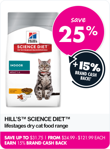 Save 25% on Hill's Science Diet lifestyles dry cat food range