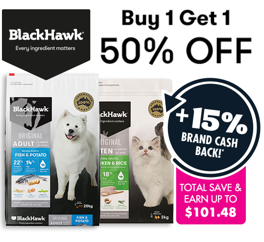 Buy one get one 50% off Black Hawk entire premium dog food range