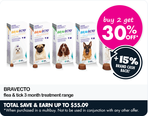 Buy two get 30% off Bravecto flea & tick 3 month treatment range