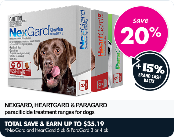 SAVE 20% on NexGard, HeartGard & ParaGard paraciticide treatment ranges for dogs