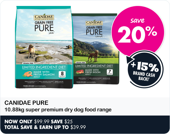 Save 20% on Canidae Pure 10.88kg super premium dry dog food range