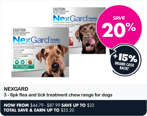 Save 20% on Nexgard 3-6pk flea and tick treatment chew range for dogs