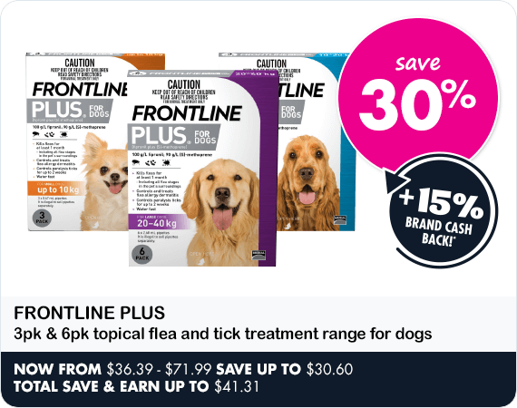 Frontline Plus 3pk & 6pk topical flea and tick treatment range for for dogs save 30%