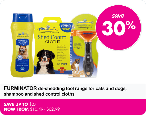 Furminator de shedding tool range for cats and dogs, shampoo and shed control cloths save 30%