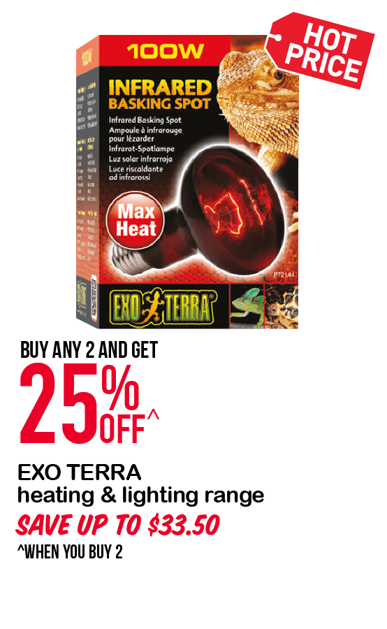 EXO TERRA heating & lighting range 25%OFF