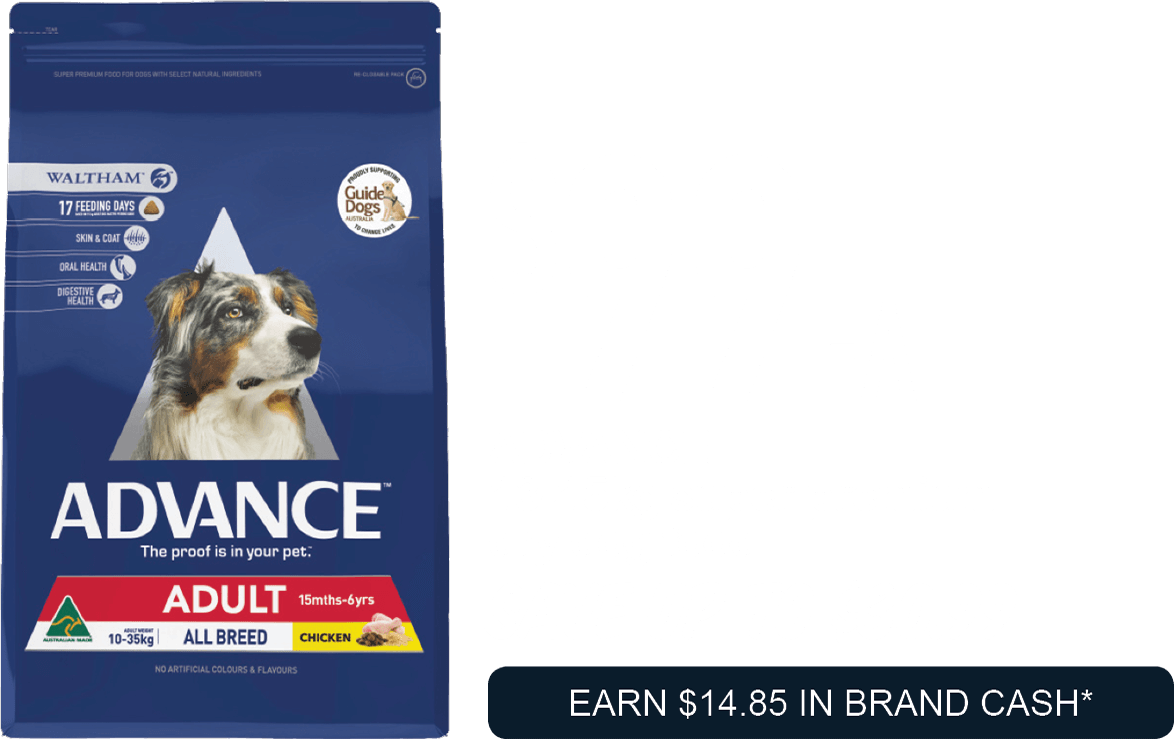 ADVANCE  13-15kg super premium dry dog food  $99ea