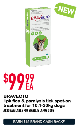 BRAVECTO 1pk flea & paralysis tick spot-on treatment for 10.1-20kg dogs - $99.99ea