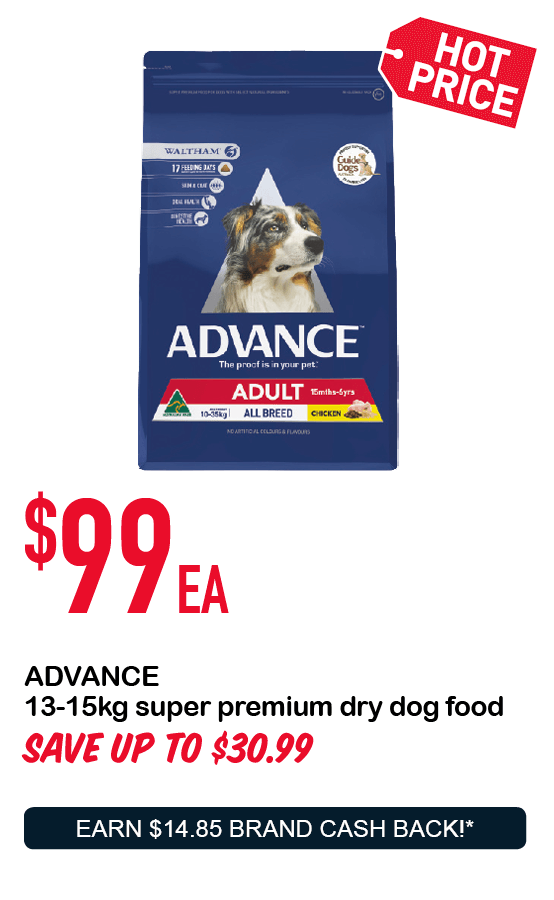 ADVANCE 13-15kg super premium dry dog food $99ea