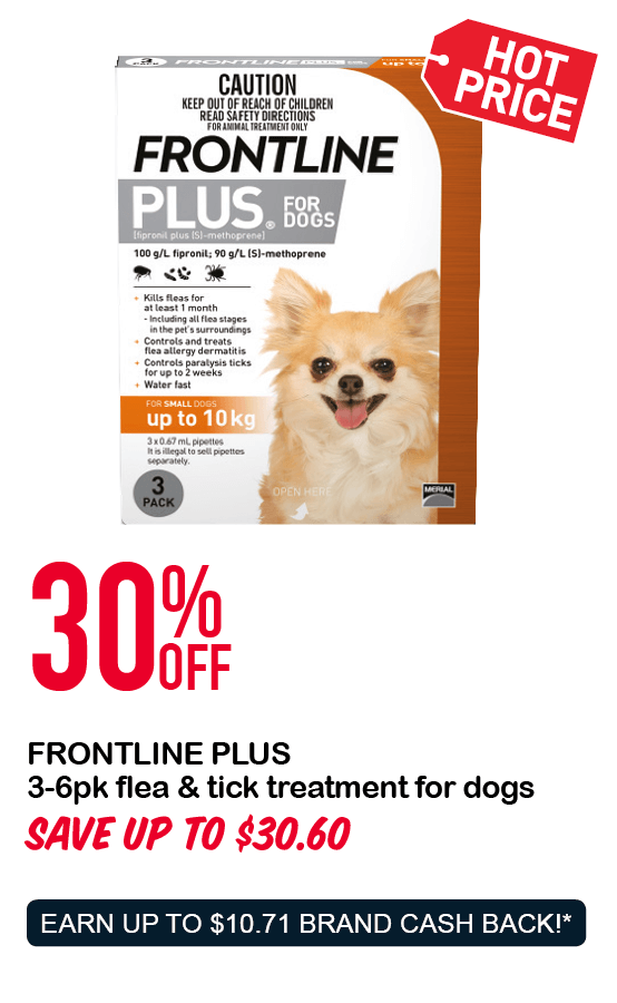 FRONTLINE PLUS 3-6pk flea & tick treatment for dogs 30%OFF