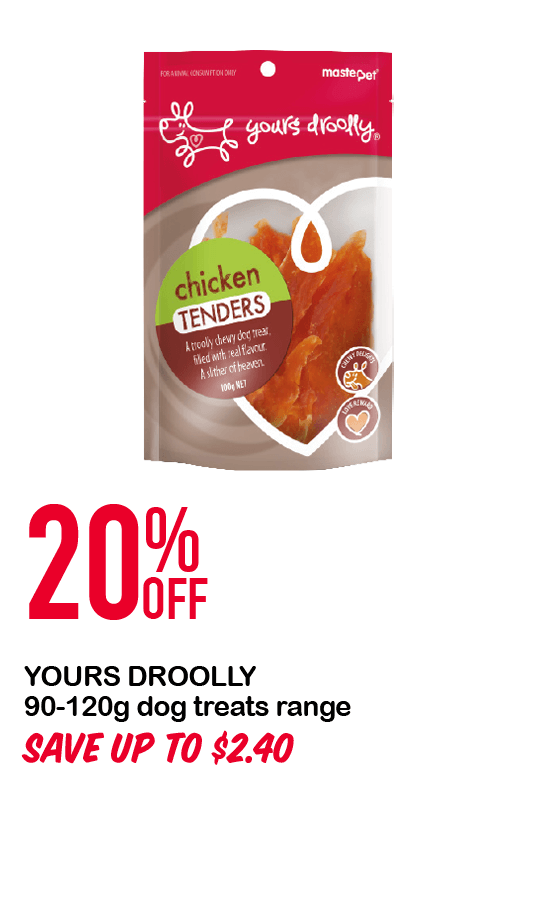 YOURS DROOLLY 90-120g dog treats range 20%OFF