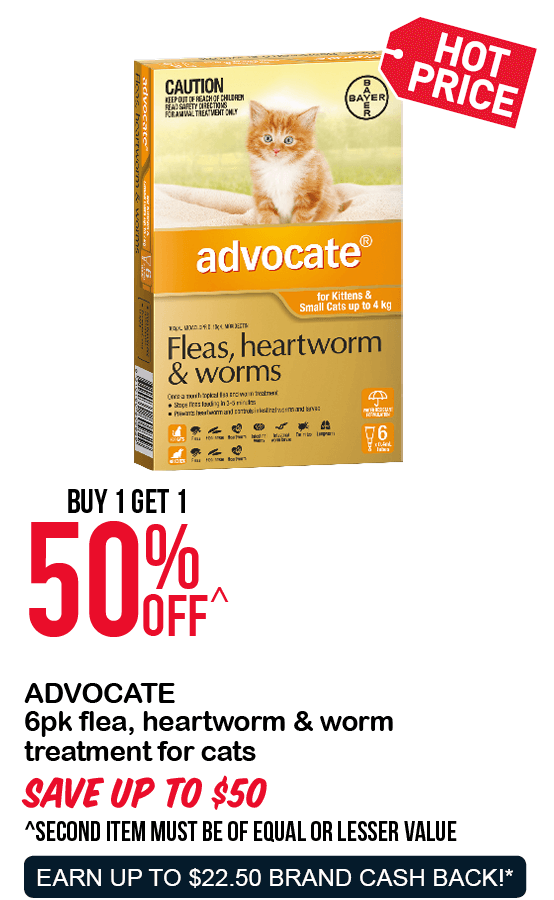 ADVOCATE 6pk flea, heartworm & worm treatment for cats 50%OFF