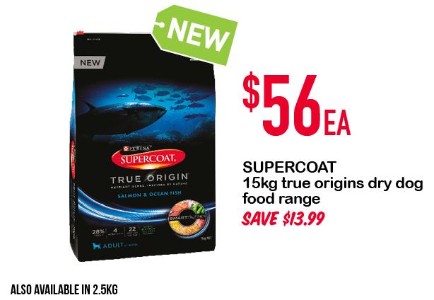 SUPERCOAT 15kg true origins dry dog food range $56ea