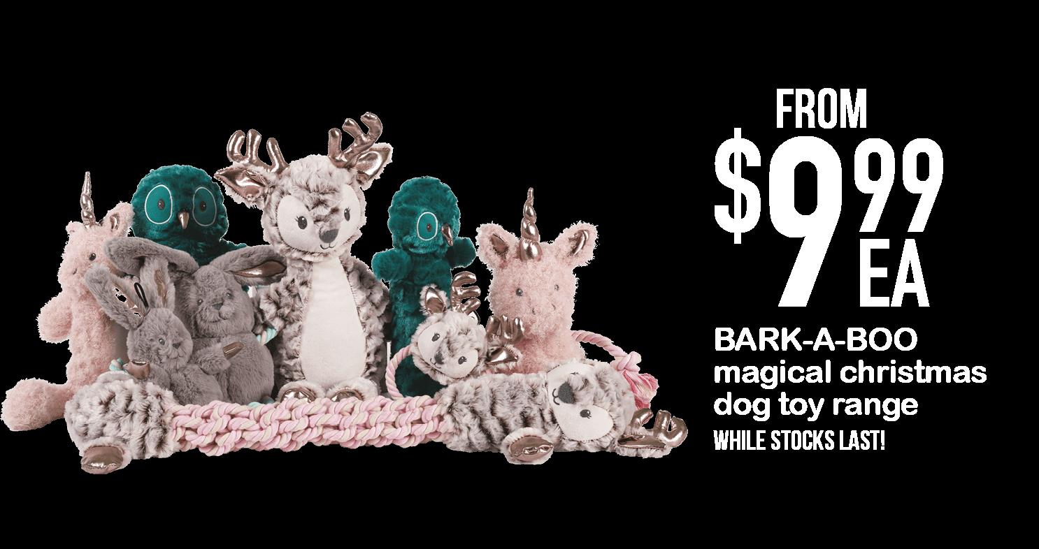 BARK-A-BOO magical christmas dog toy range $9.99ea