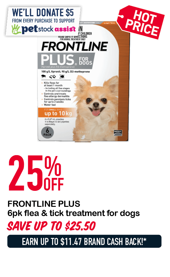 FRONTLINE PLUS 6pk flea & tick treatment for dogs 25%OFF