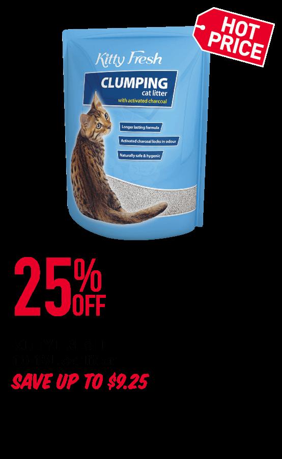 KITTY FRESH 10-15L cat litter 25%OFF