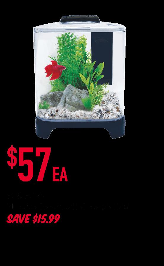 AQUA ONE  7L betta haven acrylic aquarium    $57ea