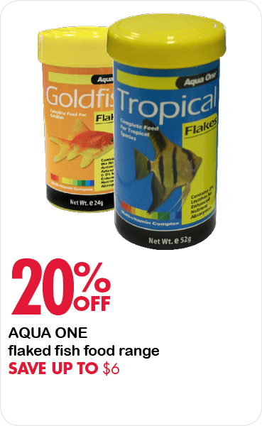 20% Off Aqua One flaked fish food range. Save up to $6