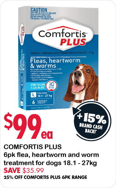 Comfortis Plus 6pk flea, heartworm & worm treatment for very small dogs 18.1 - 27kg $99 each. Save $35.99