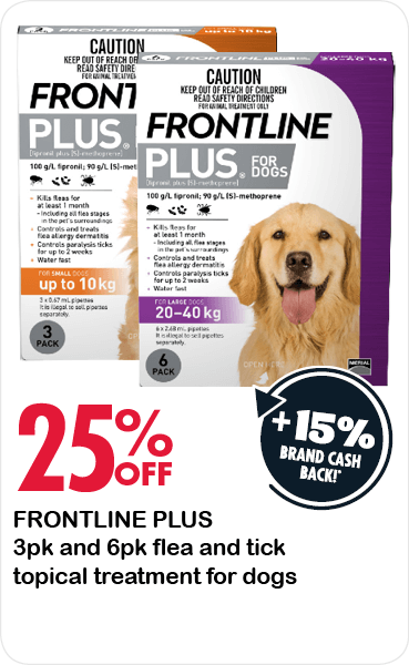 25% Off Frontline Plus 3pk and 6pk flea, topical flea treatment for dogs.