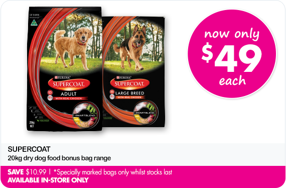 Now Only $49 each Supercoat 20kg dry dog food bonus bag range