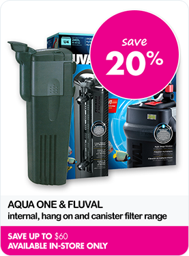 Save 20% on Aquatic internal, hand on canister filter range