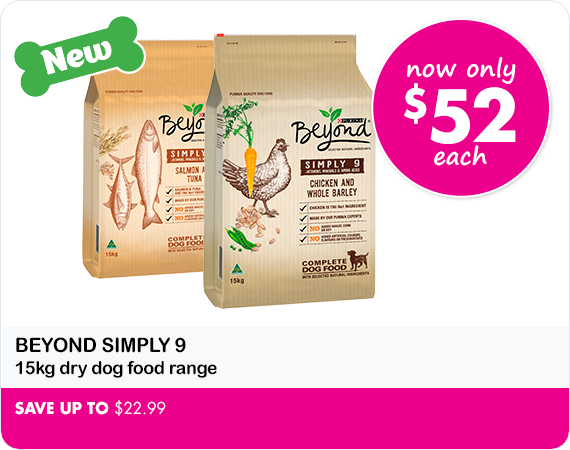 Beyond 15 kg dry dog food now only $52 each Save up to $22.99