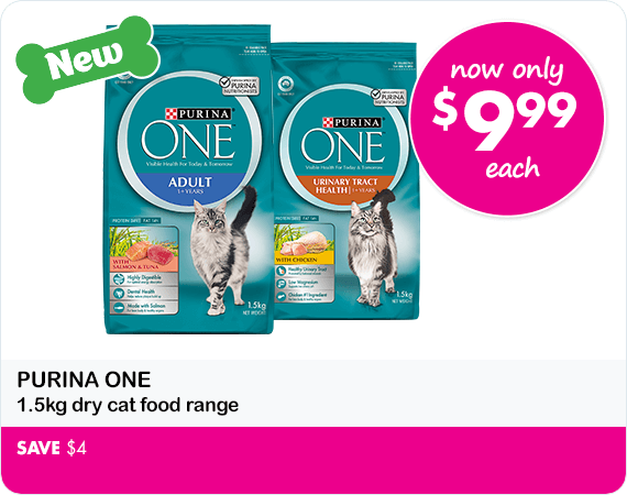 Purina One 1.5kg dry cat food range save$4