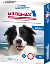 Milbemax Dog 5kg and above - 2 Pack