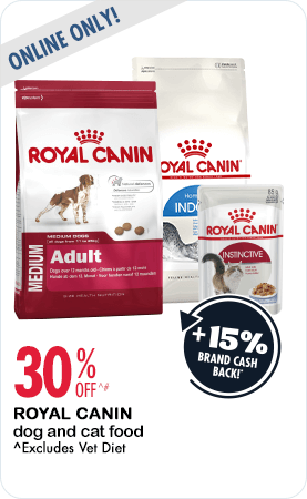 30% Off Royal Canin dog and cat food online only