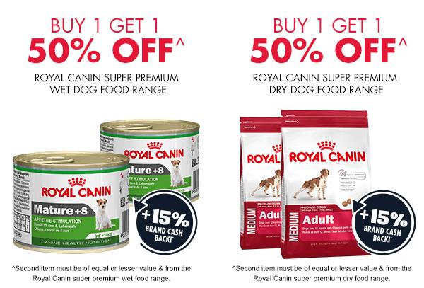 Buy 1 get 1 50% Off Royal Canin Dog food range