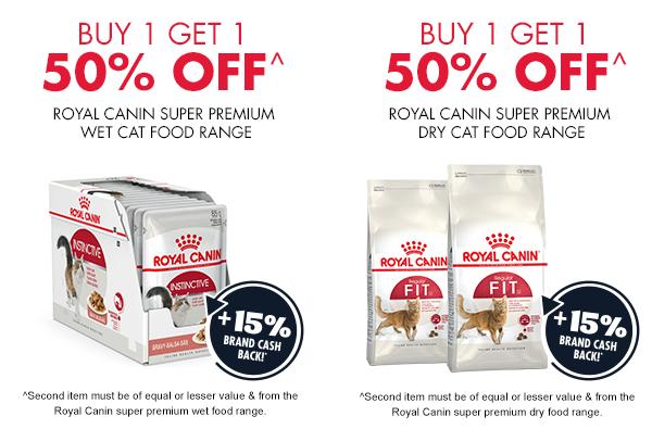 Buy 1 get 1 50% Off Royal Canin Cat food range