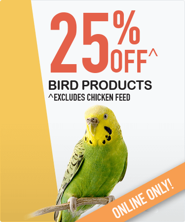25% OFF all bird products^