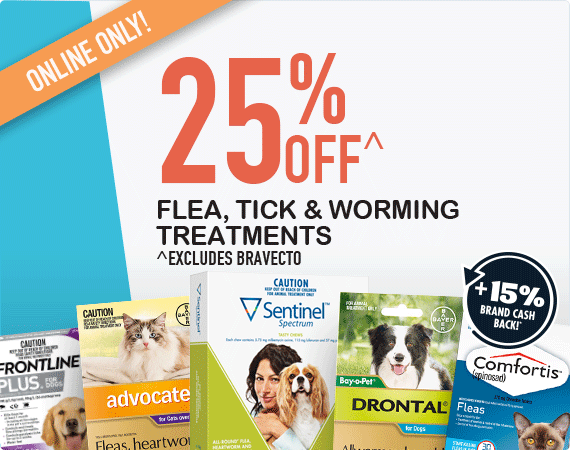 25% OFF Flea, tick & worm treatments + 15% Brand Cash Back!*