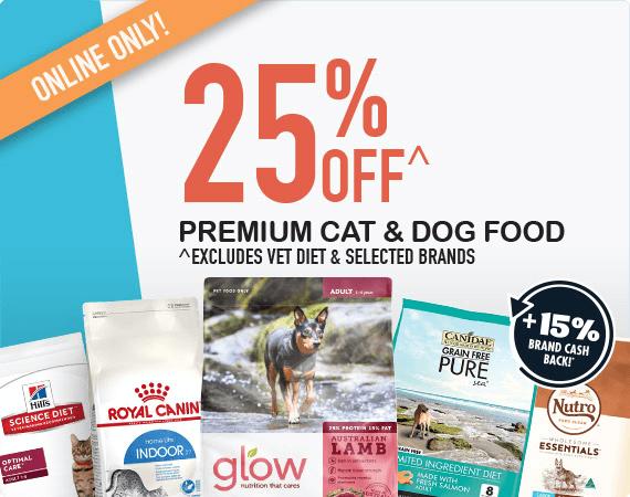 25% OFF Premium Food + 15% Brand Cash Back!*
