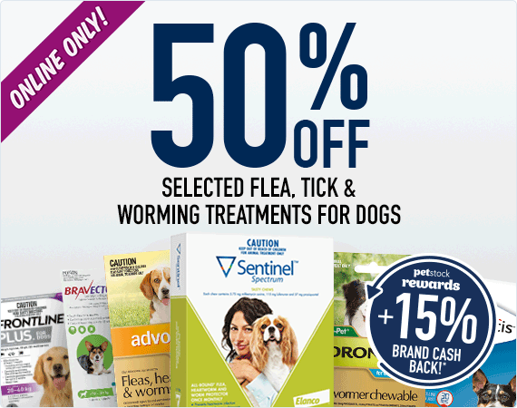 50% Off Flea, Tick & Worm Treatments for dogs!