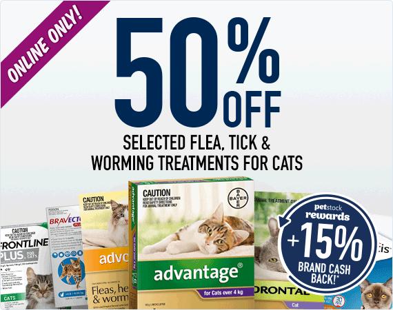 50% Off Flea, Tick & Worm Treatments for cats!