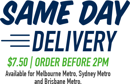Same Day Delivery $7.50 - order before 10am. Available for Melbourne Metro, Sydney Metro and Brisbane Metro.