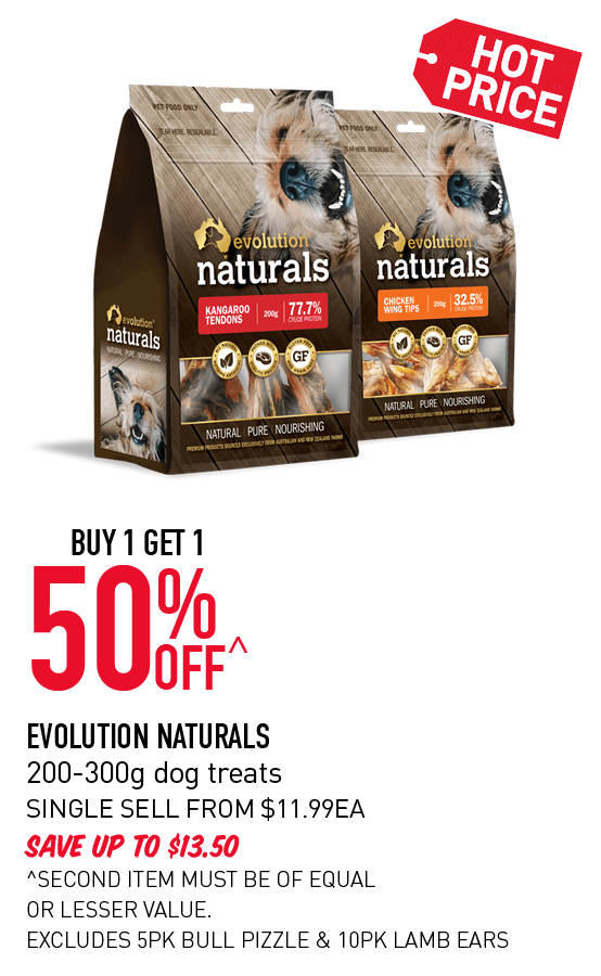 Buy 1 get 1 50% Off Evolution Naturals 200-300g dog treats. Click here to shop now!
