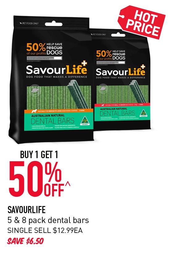 Buy 1 get 1 50% Off Savourlife 5 & 8 pack dental bars offer. Click here to shop now!