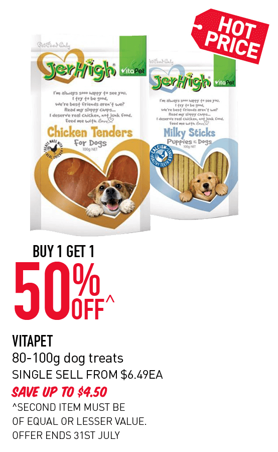 Buy 1 get 1 50% Off - Vitapet 80-100g dog treats. Click here to shop now!