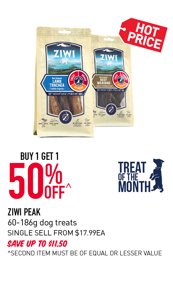 Buy 1 get 1 50% Off Ziwi Peak 60-186g dog treatsoffer. Click here to shop now!