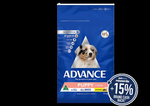 Advance 13-15kg super premium dry dog food range. Click here to shop now!